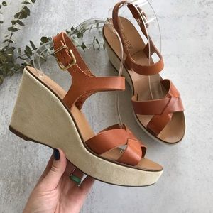 J. CREW Cleo Platform Leather and Suede Sandals 9